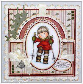 """Det blir litt koselig Bildmålarna  jul i dag. Dette motivet er fra fjorårets julekolleksjon og heter """"Mimo - Ski"""". Jeg har fargelagt motive..."""