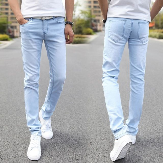 Promotion price Male Fashion Designer Brand Elastic Straight Jeans 2016 New Men Mid Pants Slim Skinny Men Jeans Stretch Jeans for Man just only $15.75 with free shipping worldwide  #jeansformen Plese click on picture to see our special price for you