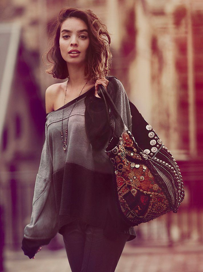 We The Free Slouchy Dip Dye Pullover at Free People. Great ethnic coin embellished hobo too.
