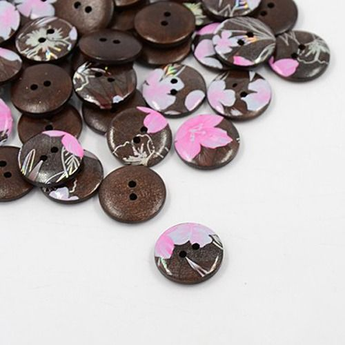Printed Wooden Buttons, 2-Hole, Dyed, Flat Round, CoconutBrown,