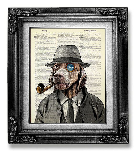Home OFFICE Decor for Man GIFT, Whimsical DOG Painting Art, Funny Office Art, Unique New Dad Gift, Steampunk Poster - Monocle Dog with Pipe