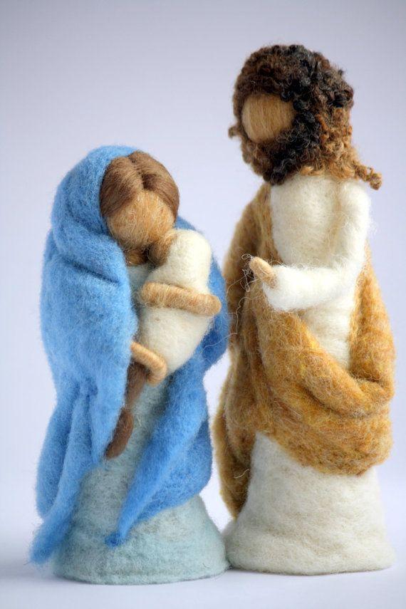 Waldorf inspirado aguja de fieltro conjunto Natividad sin