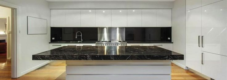 Image result for splashback for steel grey granite with white cabinets