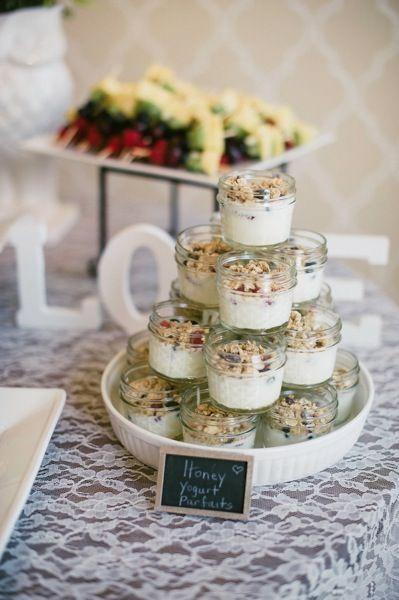 Parfait in 4 oz mason jars for parties! cool idea