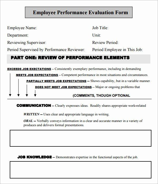 Employee Performance Review Template Free Elegant 41 Sample