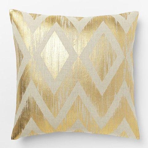 Metallic Chevron Pillow Cover – Gold