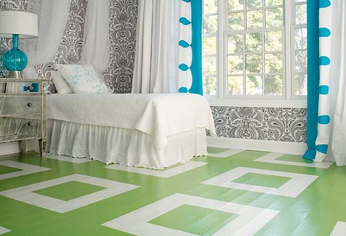 Gorgeous green painted wood floors