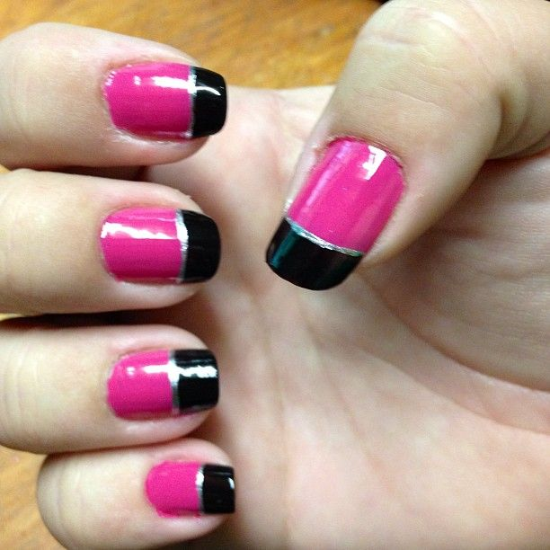 Pink, black and silver. easy diy nail design. simple nail ...