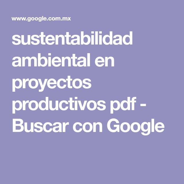 sustentabilidad ambiental en proyectos productivos pdf - Buscar con Google