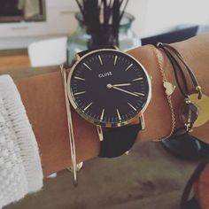 http://www.popularclothingstyles.com/category/womens-watches/ Cluse watch, Black & Gold