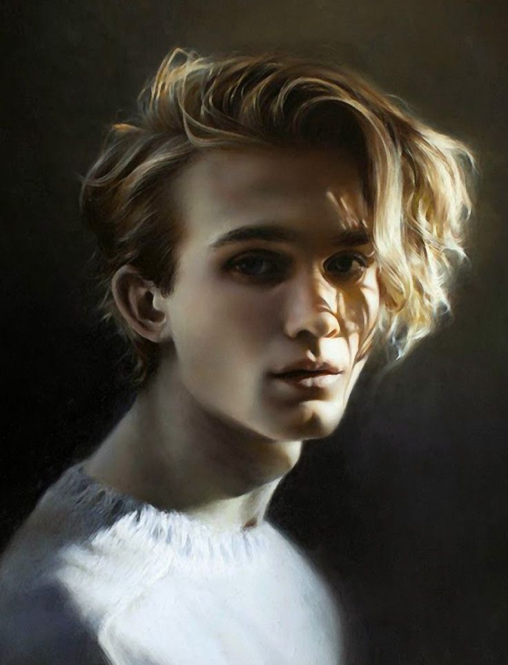 """Diventare"" - Ling Ly, oil on canvas {contemporary realism art male head blonde man face portrait cropped painting} linglyart.com"