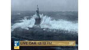Hurricane Sandy causes waves to crash over the Statue of Liberty.  10/29/12