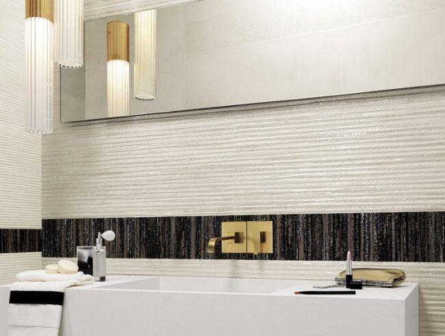 Moderne Badgestaltungsideen  Schwarz Weiss Waschbecken Kantig Spiegel Leuchte