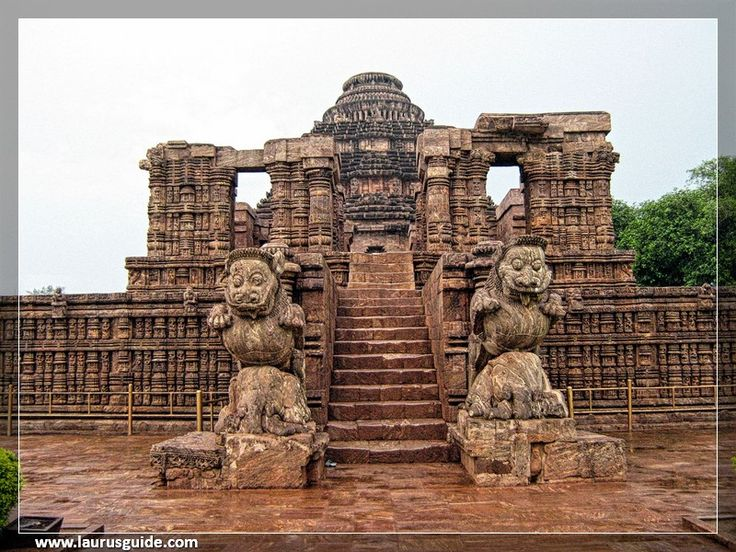 Konark Sun Temple is a 13th-century Sun Temple at Konark in Odisha, India. It is believed that the temple was built by king Narasimhadeva I of Eastern Ganga Dynasty around 1250 CE. The temple is in the shape of a gigantic chariot elaborately carved stone wheels, pillars and walls. A major part of the structure is now in ruins. The temple is a UNESCO World Heritage Site and has also featured on various list of Seven Wonders of India.