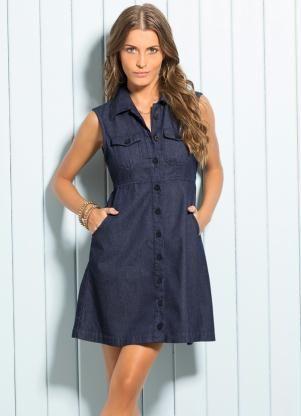 Vestido Evasê Azul Jeans - Posthaus