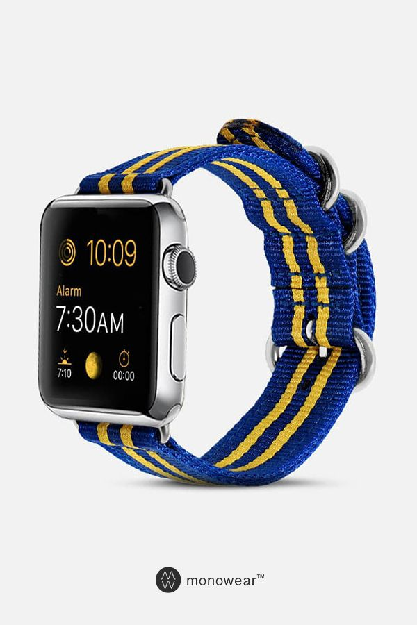 50d0e019b0668 Nylon Band in Royal Blue & Yellow for Apple Watch. Fits all Apple Watch  series and sizes 42mm/38mm. Apple Watch band hardware is color matched to  you Apple ...