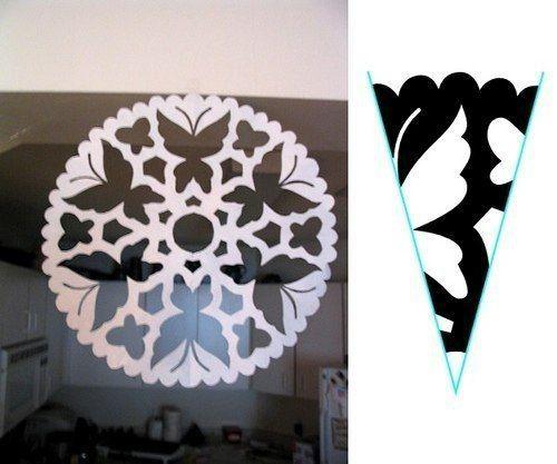 Paper snowflake cutting PATTERN Butterfly Butterflies