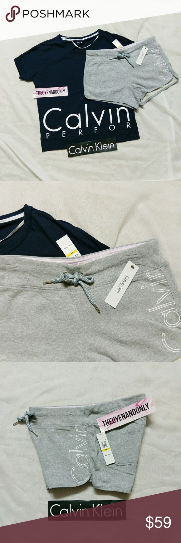 NWT Authentic CK Calvin Klein Performance Set PRICE IS FIRM  NEW WITH TAGS - 100% AUTHENTIC  You will receice 1 shorts and 1 t-shirt both in size MEDIUM  I am currently only have 1 set available  FREE SHIPPING is available, please contact Calvin Klein Tops Tees - Short Sleeve