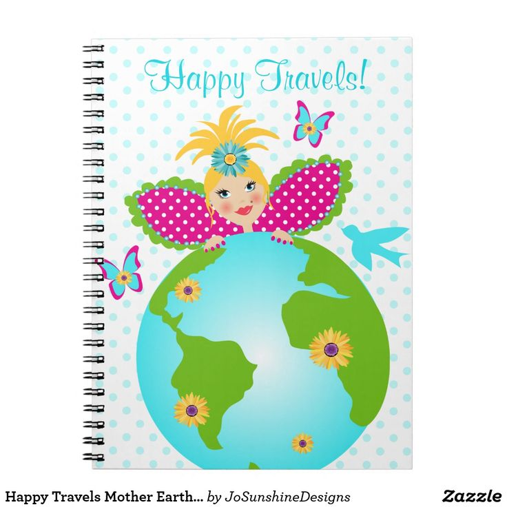 Happy Travels Mother Earth Fairy Angel Diary Dots