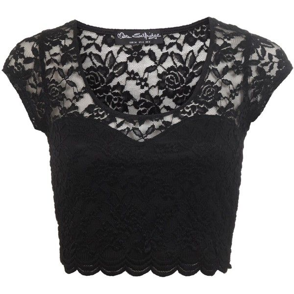 Miss Selfridge Scallop Lace Crop Top, Black ($14) ❤ liked on Polyvore featuring tops, shirts, crop tops, cropped, crop top, lace sleeve shirt, scalloped shirt, short sleeve shirts and scalloped crop top