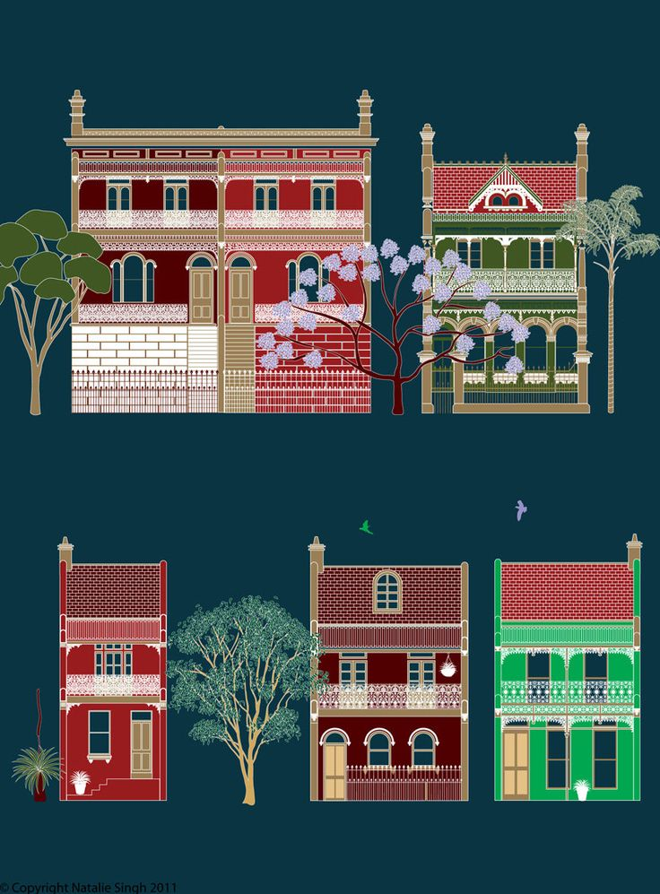 Australian terraced houses digital art print. via Etsy.