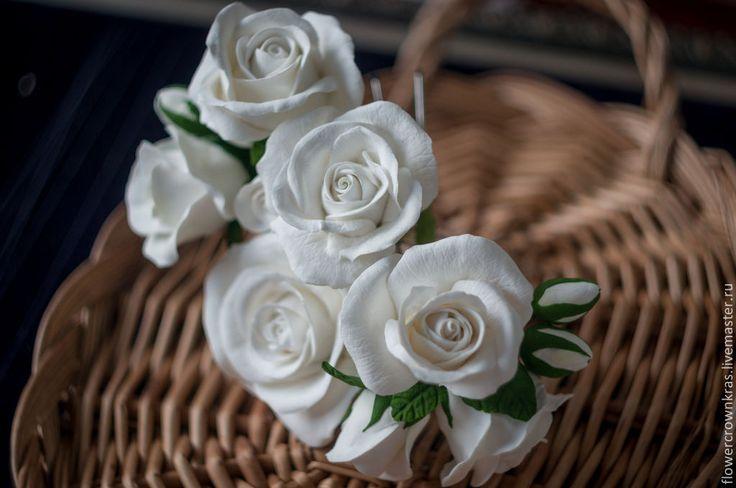 """Купить Шпильки для волос """"Белые розы"""" - белый, роза, белые розы, для свадьбы, невесте"""