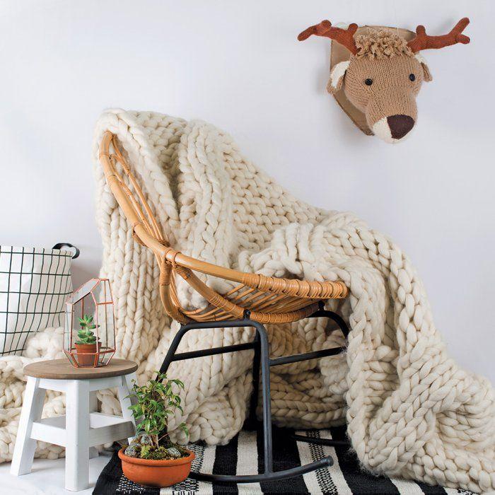 Un modèle de plaid XXL à tricoter ✪ free pattern Tricot XXL: plaid