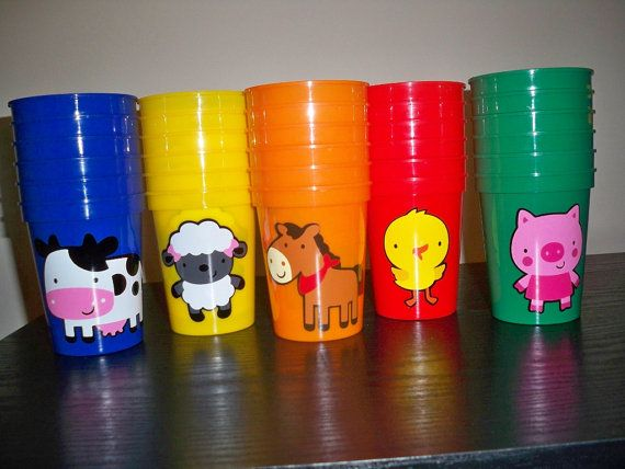 FARM ANIMAL theme BIRTHDAY party favor cups (set of 6 cups) on Etsy, $18.00