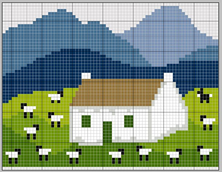 chart  Moutons et maison Sheep and house