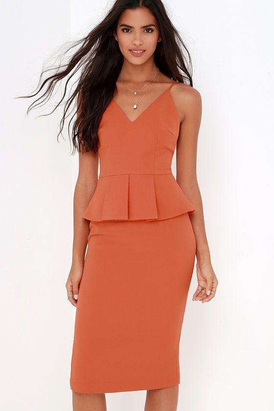 Finders Keepers Stand Still Orange Peplum Midi Dress at Lulus.com!