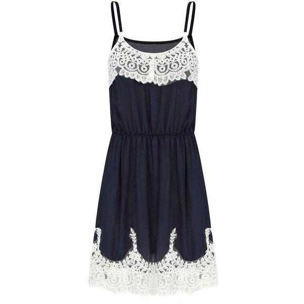 Yoins Yoins Blue Cami Dress (4.965 KWD) ❤ liked on Polyvore featuring dresses, short dresses, vestidos, blue, scalloped shift dress, spaghetti strap cami, shift dress, blue day dress and crochet lace dress