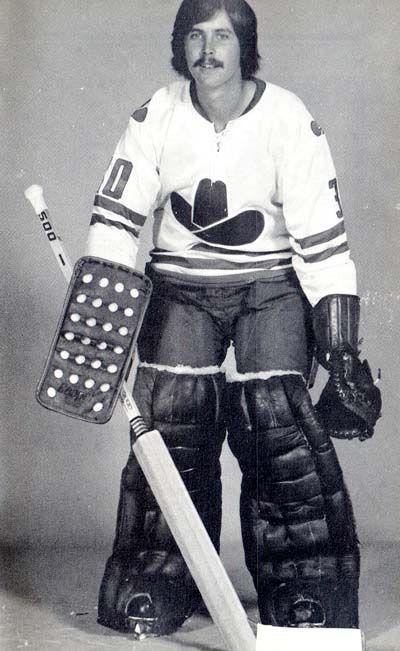 Goalie Wayne Wood of the Calgary Cowboys. Ok, I love hockey but....this isn't me