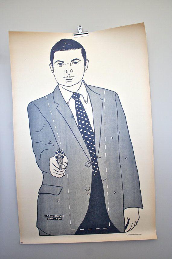 vintage secret service paper shooting target: RARE large 1970's secret service target poster via LegalMissSunshine on Etsy, 82.00
