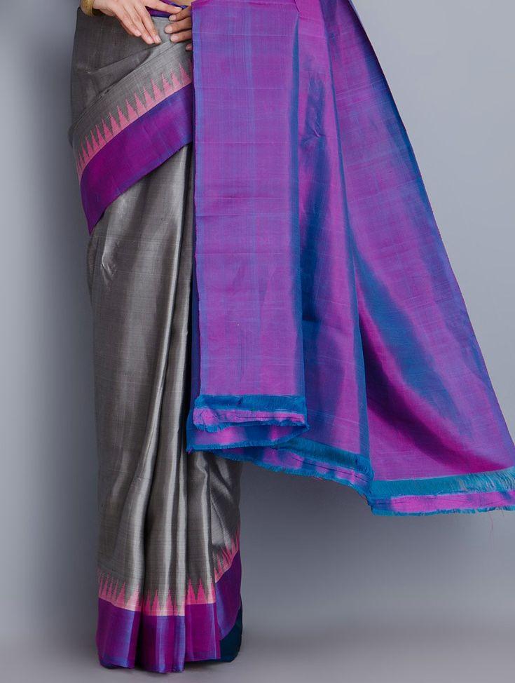 Buy Grey Purple Gadwal Silk Temple Border Ikat Handwoven Saree Sarees Woven Allure Bags Home Textiles & More Online at Jaypore.com