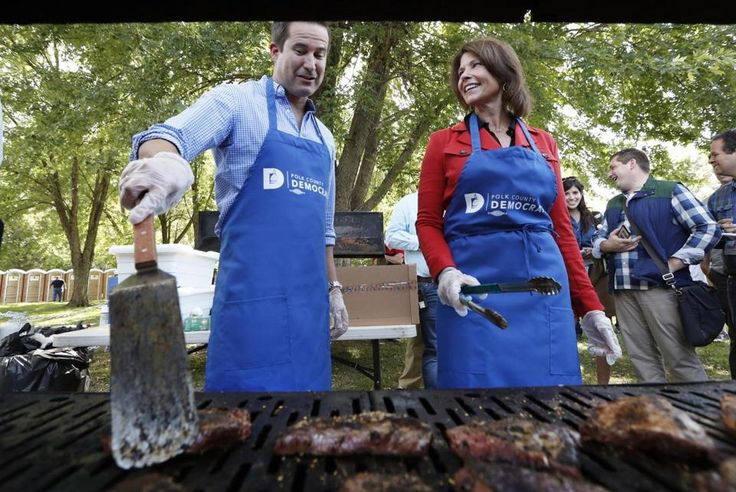 US Representative Seth Moulton flipped steaks Saturday during the Polk County Democrats Steak Fry.