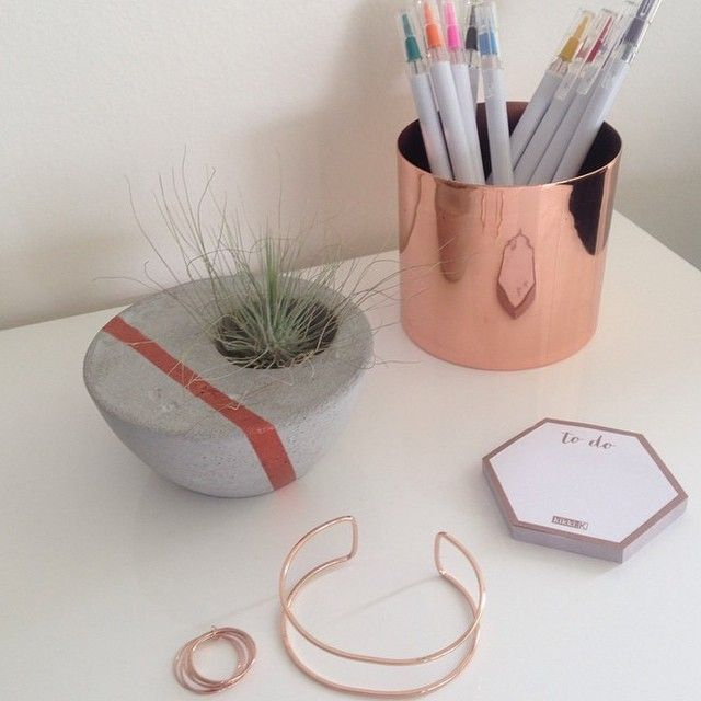 In love with rose gold and copper! Our new @jinkscreations office space! Featuring our small concrete bowls, Kiki k stationary and country road jewellery... #concrete #copper #rosegold #obsession #style #decor #home #cement #officespace #styling #jewellery