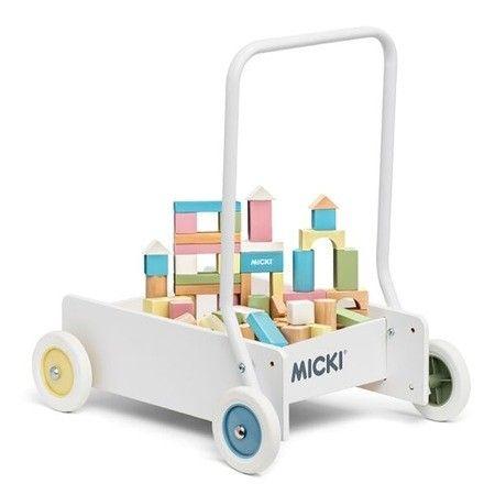 Micki - Wooden Pastel Baby Walker with Blocks 4
