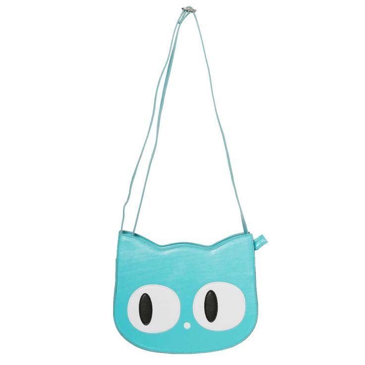 Banned. Een blauwe schoudertas in de vorm van een kat met schattige, grote, witte ogen. De tas heeft een verstelbare schouderband en op de achterkant zit een vakje met een ritssluiting.