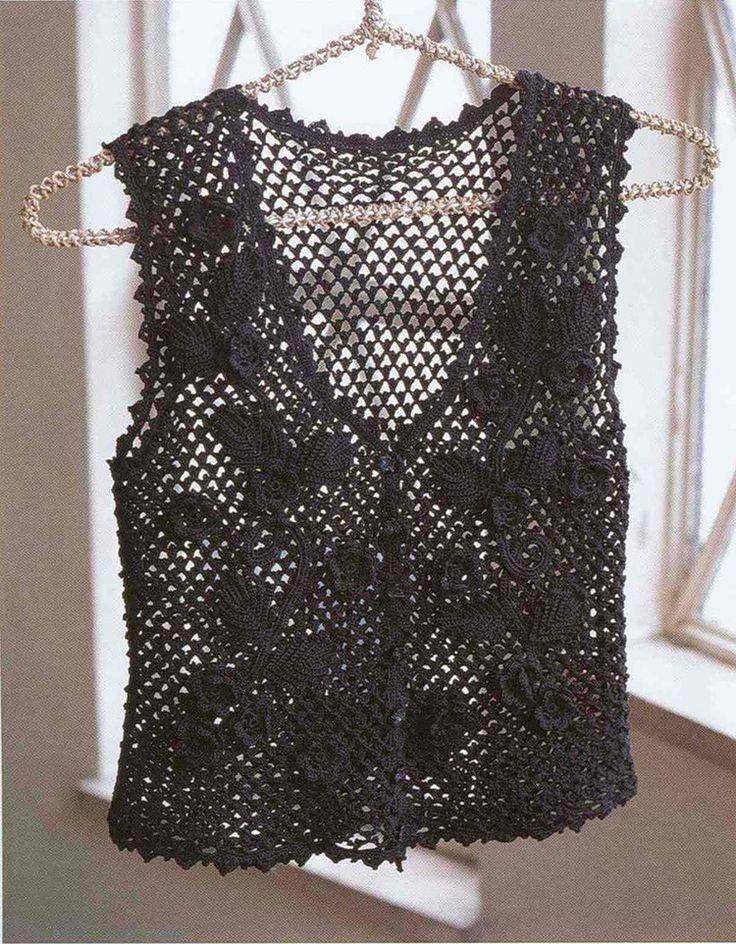 Patrones para Crochet: Chaleco Negro Calado Patron