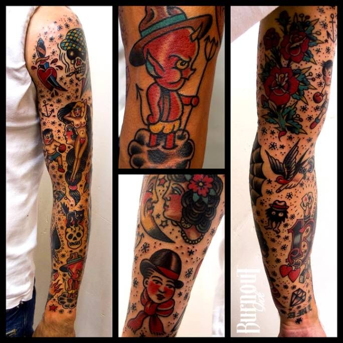 Favori 22 best Old School Sleeve Tattoos images on Pinterest | Sleeve  PD32