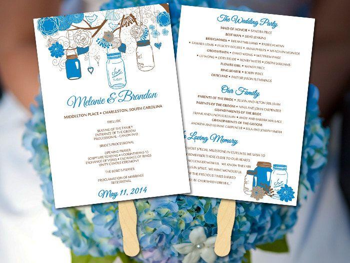 Cornflower Wedding Fan Program Template - Mason Jar Ceremony Program DIY Wedding Program Fan - Outdoor Wedding Program Favor Rustic Wedding by PaintTheDayDesigns on Etsy
