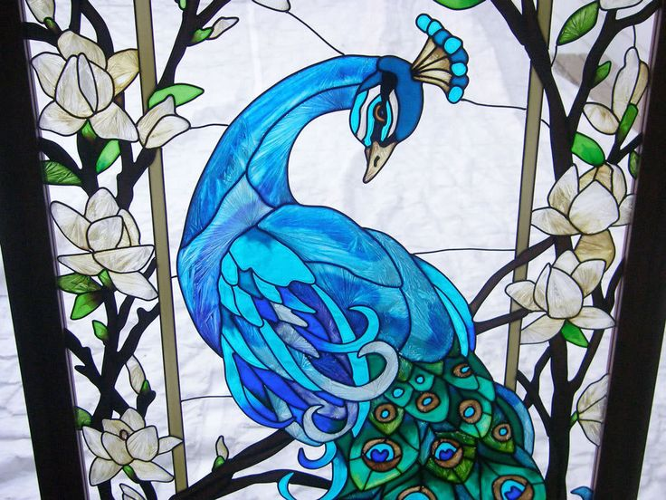 Details About Magnificent Peacock 17x37 Stained Glass