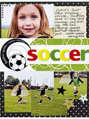 Soccer LayoutScrapbook Ideas, Layout Ideas, Scrapbook Layouts, Sports Scrapbook, Scrapbook Sports, Scrapbooking Ideas, Scrapbook Pages, Soccer Scrapbook, Scrapbooking Layouts