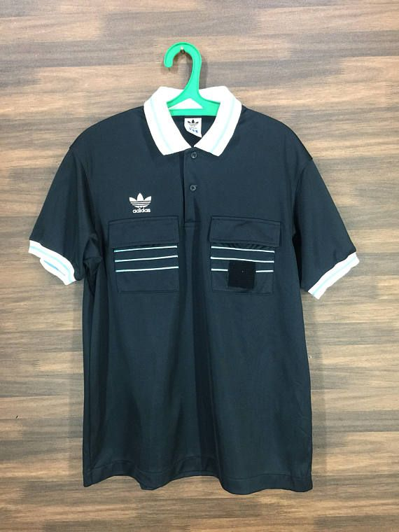 Vintage 90s Adidas Trefoil Referee Jersey Polos Shirt  8405cc9f0