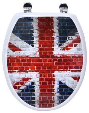 Photoprint MDF Toilet Seat Union Jack with Zinc Hinges Multicolor Elongated contemporary-toilet-accessories