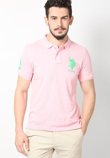 U.S. Polo Assn. Pink Slim Fit Polo T Shirt - Buy Men Polo T-Shirts Online | US126MA12NHNINDFAS