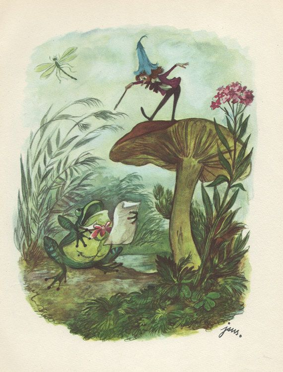 """(1960) book illustration created by J.M. Szancer for the novel """"O krasnoludkach i sierotce Marysi"""" (Dwarves and a Little Orphan Girl Mary) written by Maria Konopnicka."""