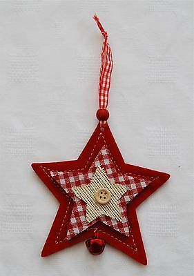 Lovely Felt Hanging Star with Bell Christmas Decoration | eBay,,,,, IDEA FOR GIFT TAG