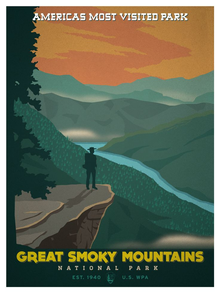 Superior Vintage National Park Posters Part - 4: Vintage National Park Poster. Based On The Classic WPA Posters Of The Early  Twentieth Century