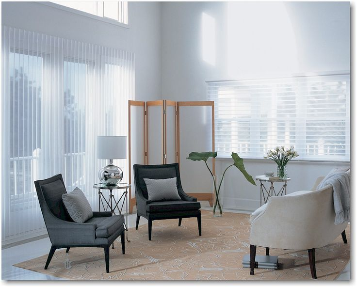 Luminette® Privacy Sheers combine the softness of sheer curtains with the flexibility of blinds. The sheers can be opened to welcome in the sunlight or closed for diffused light. The vertical vanes can be tilted partially or completely closed for greater privacy.